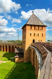 Novgorod fortress with towers Stock Photos