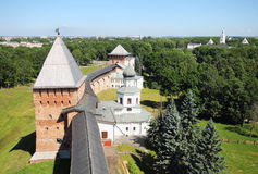Novgorod fortress wall. Fortification Novgorod Kremlin in Russia Royalty Free Stock Photos