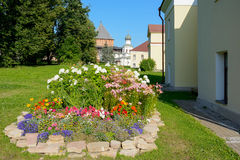 Novgorod the Great, a flower bed in the citadel Stock Photos