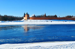 Novgorod Kremlin fortress in sunny winter day in Veliky Novgorod, Russia. Royalty Free Stock Photo