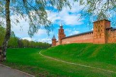 Novgorod Kremlin on the mountain Stock Photography