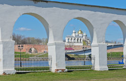 Novgorod Kremlin, Russia. Belfry of St. Sophia Cathedral in Novgorod Kremlin, Russia Royalty Free Stock Photo