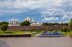 Novgorod Kremlin with St. Sophia Cathedral. NOVGOROD, RUSSIA - AUGUST 10: Kremlin town fortress with St. Sophia Cathedral on August 10, 2013 in Veliky Novgorod Stock Images