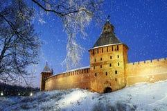 Novgorod Kremlin in Veliky Novgorod, Russia, at night Stock Photos