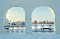 Novgorod Kremlin in Veliky Novgorod, Russia - winter sunset framed view Stock Photography