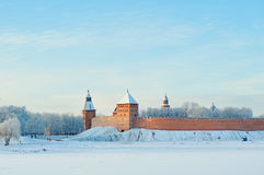 Novgorod Kremlin in Veliky Novgorod, Russia, in winter sunset light in cold weather Stock Photos