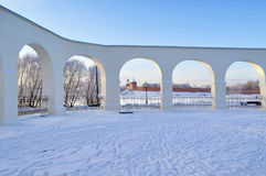 Novgorod Kremlin in Veliky Novgorod, Russia - winter view in sunny day. Winter architecture landscape - architecture landmarks, towers of Novgorod Kremlin Stock Photography