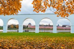 Novgorod Kremlin and Yaroslav Courtyard arch, Veliky Novgorod, Russia. Autumn view. Veliky Novgorod, Russia, autumn view. Novgorod Kremlin and Yaroslav Courtyard Royalty Free Stock Image