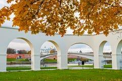 Novgorod Kremlin and Yaroslav Courtyard arch, Veliky Novgorod, Russia. VELIKY NOVGOROD, RUSSIA -OCTOBER 19, 2017. Novgorod Kremlin and Yaroslav Courtyard arch Stock Photo
