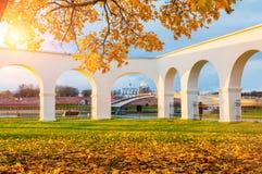 Novgorod Kremlin and Yaroslav Courtyard arch, Veliky Novgorod, Russia. Autumn view. VELIKY NOVGOROD, RUSSIA -OCTOBER 19, 2017. Novgorod Kremlin and Yaroslav Stock Images