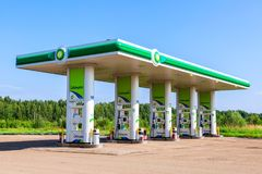 BP or British Petroleum gas station in summer day royalty free stock photography
