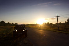 Novgorod region, Russia, August 15, 2014: Journey to the Jivas Wrangler unlimited Sahara for Novgorod region. Wrangler is a compac Stock Photo