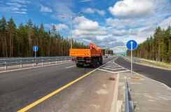 Toll road. Russian highway number M11 in summer day Royalty Free Stock Photo