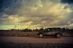 Novgorod region, Russia, October 5, 2016, off-road jeep expedition to the villages of the Novgorod region, the Jeep Wrangler is a Stock Photography