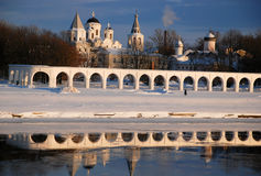 Novgorod. Winter evening on the river Volkhov Royalty Free Stock Images