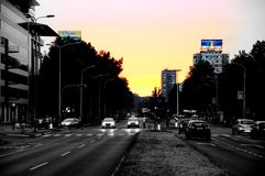 Novi Beograd. Sunset serbia belgrade night Royalty Free Stock Photo