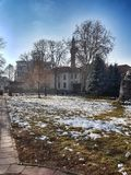 Novi Pazar old town, Srbija. Park in Novi Pazar. In this picture you see Sin an Beg mosque stock images