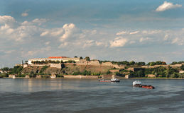 Novi sad 01. River Danube with Petrovaradin castle,place of Exit festival, and with ship transportation Royalty Free Stock Photo