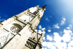 Novi Sad cathedral. Low angle view of Novi Sad cathedral with blue sky and cloudscape background; Serbia stock image