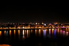 Novi Sad by night 2. Novi Sad by night, and the river Danube, view from Petrovaradin fortress, place of exit festival Stock Image