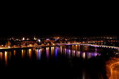 Novi Sad by night 3. Novi Sad by night, and the river Danube, view from Petrovaradin fortress, place of exit festival Royalty Free Stock Photo