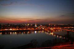 Novi Sad by night 4. Novi Sad by night, view from Petrovaradin fortress, the place of music festival EXIT Stock Photos