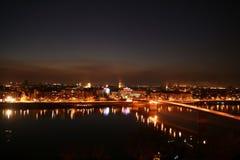 Novi Sad by night. Novi Sad at night, looks from petrovaradin fortress Stock Images