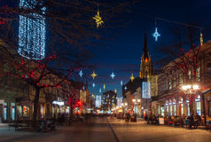 Novi Sad at night. Walking the New year Novi Sad Royalty Free Stock Image