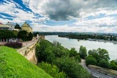 Novi Sad and Petrovaradin towns Stock Photo