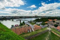 Novi Sad and Petrovaradin towns Stock Photos