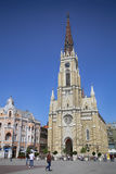 NOVI SAD, SÉRVIA - 3 DE ABRIL: Opinião Liberty Square (Trg Slobode Foto de Stock Royalty Free