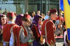 Novi Sad, Sebia: 4 Em outubro de 2015 Grupo do folclore Foto de Stock Royalty Free