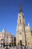 NOVI SAD, SERBIA - APRIL 03: View on Catholic Cathedral from Lib Stock Image