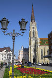 NOVI SAD, SERBIA - APRIL 03: View on Catholic Cathedral from str Royalty Free Stock Images