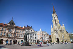 NOVI SAD, SERBIA - APRIL 03: View of Liberty Square (Trg Slobode Royalty Free Stock Image