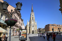 NOVI SAD, SERBIA - APRIL 03: View of Liberty Square (Trg Slobode Royalty Free Stock Photography