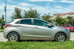 New silver Hyindai I30 car parked on the street in the city Royalty Free Stock Photography