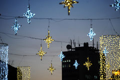 Novi Sad, Serbia. Christmas street decorations in the night Stock Images