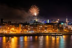 Fireworks in Novi Sad, Serbia. New Year`s fireworks. stock image