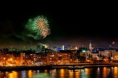 Fireworks in Novi Sad, Serbia. New Year`s fireworks. royalty free stock image
