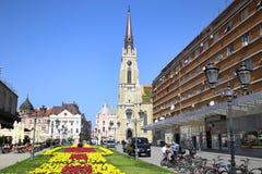 NOVI SAD SERBIA, KWIECIEŃ, - 03: Widok na Katolickiej katedrze od str Obrazy Stock