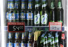 Novi Sad, Serbia, 06.02.2018 many branded different beers on sale with prices royalty free stock images