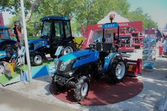 Novi Sad, Serbia, 20.05.2018 Fair,new tractor brand Solis. Novi Sad, Serbia, 20.05.2018 new tractor brand Solis, New modern models of agricultural machinery Stock Photography