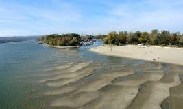 Novi Sad, Serbia, October 27th 2018. - Low level of the river Danube. Made visible dry riverbed and massive sandbars royalty free stock photo
