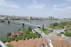 Novi Sad, Serbia, plenerowy widok od Petrovaradin fortecy Zdjęcia Stock