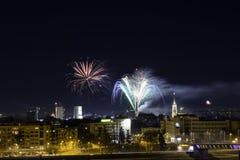 Novi Sad, Serbie 1er janvier 2018 : Feux d'artifice au centre de la ville, vue image libre de droits