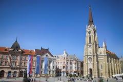 NOVI SAD, SERBIEN - 3. APRIL: Ansicht von Liberty Square (Trg Slobode Lizenzfreies Stockbild