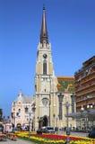 NOVI SAD SERBIEN - APRIL 03: Sikt på katolsk domkyrka från str Royaltyfri Foto