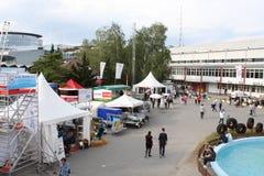 Novi Sad, Servië: kan 2 2016 - De Agromarkt van Novi Sad Stock Foto's