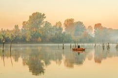 Fishermen in the lake. Novi Sad, Srbija - Oktober 17, 2017: fishermen in the lake royalty free stock images